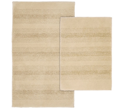 Pin Stripe Bath Mat Set - Beige (2 Piece Set) Dorm Items Must Have Dorm Items Dorm Room Decor