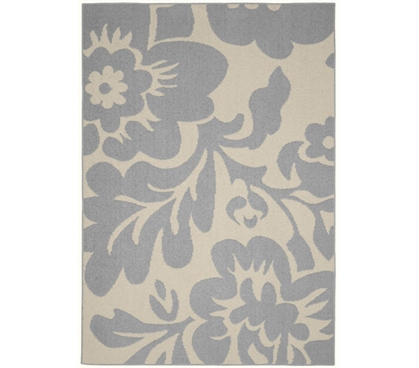 Floral Garden Dorm Rug - Silver and Ivory 5' x 7' Dorm Rug College Rug Dorm Room Decor