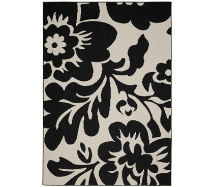 Floral Garden Dorm Rug - Black and Ivory 5' x 7' Dorm Essentials Dorm Room Decorations