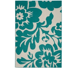 Floral Garden Dorm Rug - Teal and Ivory 5' x 7' Dorm Essentials College Supplies Dorm Room Decor