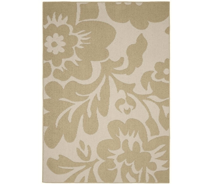 Floral Garden Dorm Rug - Tan and Ivory 5' x 7' Dorm Essentials College Supplies Dorm Room Decorations