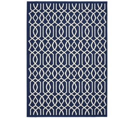 Fretwork Dorm Rug - Indigo and Ivory Dorm Essentials Dorm Necessities Dorm Room Decorations
