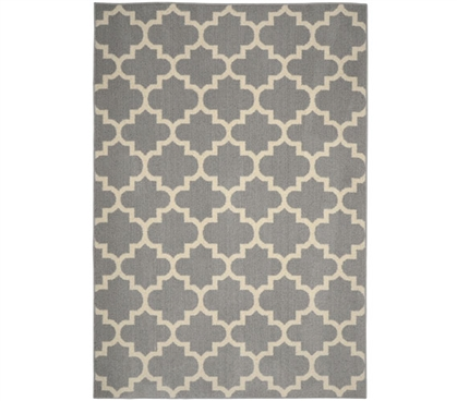 Geneva Dorm Rug - Silver and Ivory - 5' x 7' Dorm Essentials Dorm Room Decorations