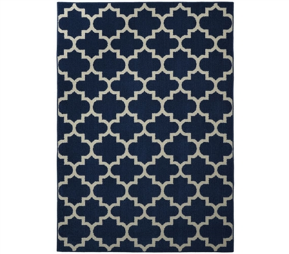 Geneva Dorm Rug - Indigo and Ivory Dorm Essentials Dorm Room Decorations Dorm Room Decor