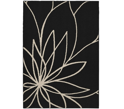 Grand Floral Dorm Rug - Black and Ivory College Rug Dorm Room Decorations