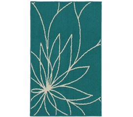 Grand Floral Dorm Rug - Teal and Ivory