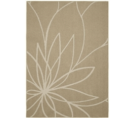 Grand Floral Dorm Rug - Tan and Ivory