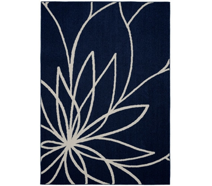 Grand Floral Dorm Rug - Indigo and Ivory Dorm Essentials Dorm Room Decor Must Have Dorm Items