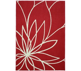 Grand Floral Dorm Rug - Coral and Ivory