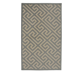Patterened Dorm Decor - Greek Key College Rug - Ivory and Silver