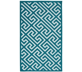 Cute Dorm Carpets - Greek Key College Rug - Teal and White