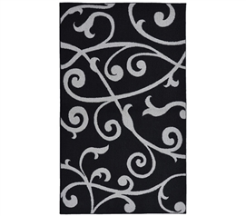 Dorm Decor For Girls - Honeysuckle College Rug - Black and Silver