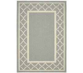 Moroccan Frame Dorm Rug - Silver and Ivory