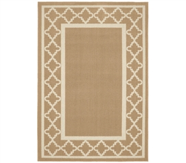 Moroccan Frame Dorm Rug - Tan and Ivory