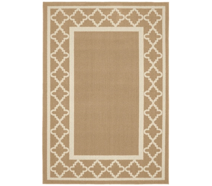 Moroccan Frame Dorm Rug - Tan and Ivory College Rug Dorm Essentials Dorm Room Decor