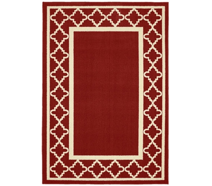 Moroccan Frame Dorm Rug - Crimson and Ivory Dorm Essentials Dorm Room Decorations