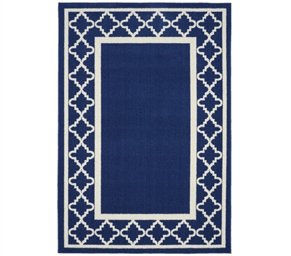 Moroccan Frame Dorm Rug - Indigo and Ivory Dorm Area Rug Dorm Room Decorations