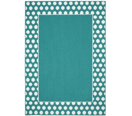 Polka Dot Frame Dorm Rug - Teal and White Dorm Essentials Dorm Room Decorations