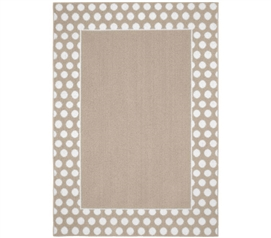 Polka Dot Frame Dorm Rug - Tan and White Dorm Essentials Dorm Room Decor