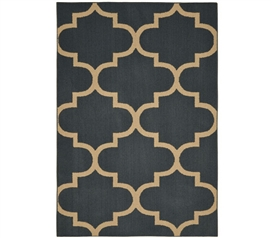 Quatrefoil Large Dorm Rug - Gray and Tan Dorm Essentials Dorm Room Decor