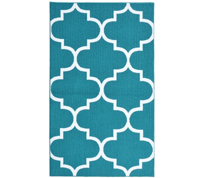 Quatrefoil Large Dorm Rug - Teal and White Dorm Essentials Dorm Room Decorations