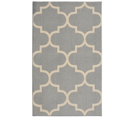 Quatrefoil Large Dorm Rug - Silver and Ivory Dorm Room Decorations