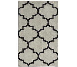Quatrefoil Large Dorm Rug - Silver and Black
