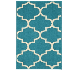 Quatrefoil Large Dorm Rug - Teal and Ivory College Rug Dorm Essentials