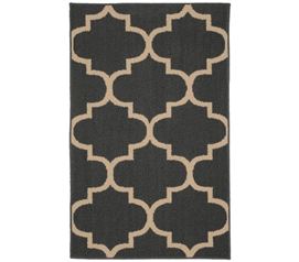Quatrefoil Large Dorm Rug - Gray and Ivory College Rug Dorm Essentials Dorm Room Decorations