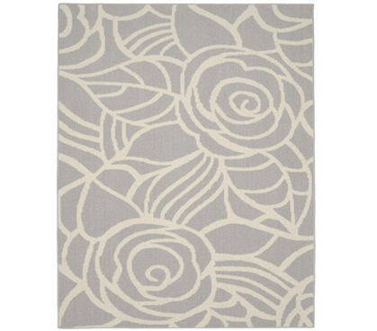 Rhapsody Dorm Rug - Silver and Ivory College Rug Dorm Essentials Dorm Room Decor