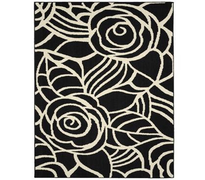 Rhapsody Dorm Area Rug - Black and Ivory Dorm Room Decorations Dorm Room Decor