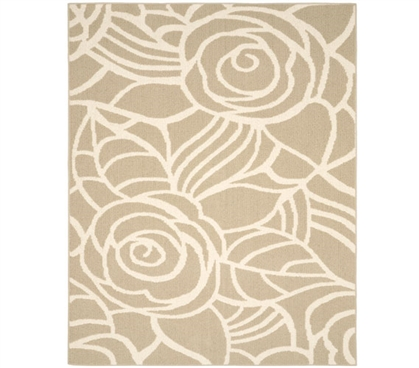 Rhapsody Dorm Rug - Tan and Ivory College Rug Dorm Essentials Dorm Room Decor