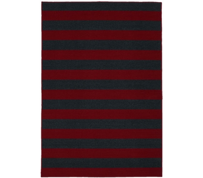 Rugby College Rug - Burgundy and Navy - 5' x 7.5'