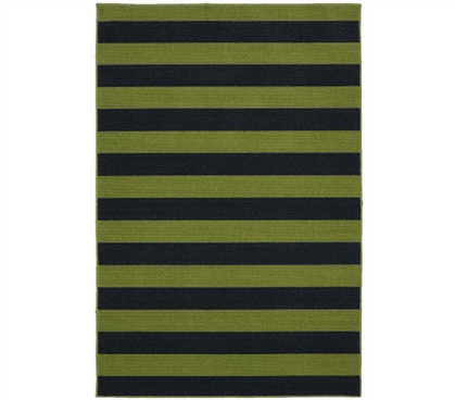 Rugby College Rug - Sage and Navy - 5' x 7.5'