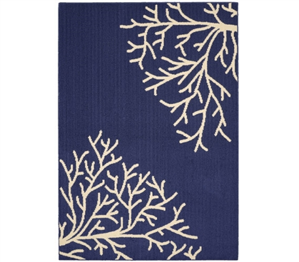 Sea Coral Dorm Rug - Indigo and Ivory - 5' x 7'