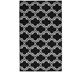 Quatrefoil Silhouette Dorm Rug - Black and White - 5' x 7'