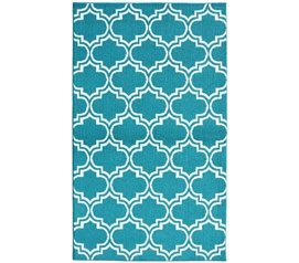 Quatrefoil Silhouette Dorm Rug - Teal and White - 5' x 7'