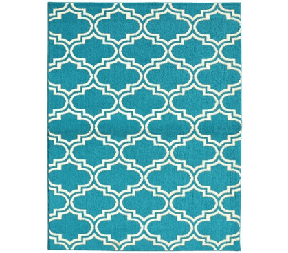 Quatrefoil Silhouette Dorm Rug - Teal and Ivory - 5' x 7'