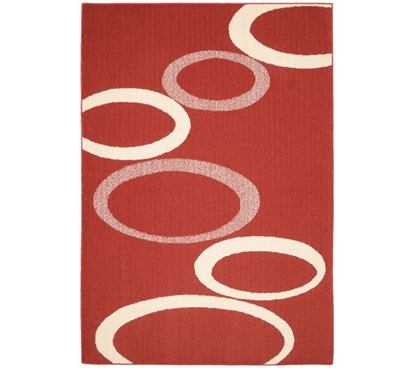 Soho Dorm Rug - Crimson and Ivory - 5' x 7'