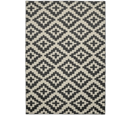 Southwest College Rug - Gray and Ivory