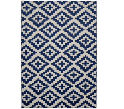 Southwest College Rug - Indigo and Ivory