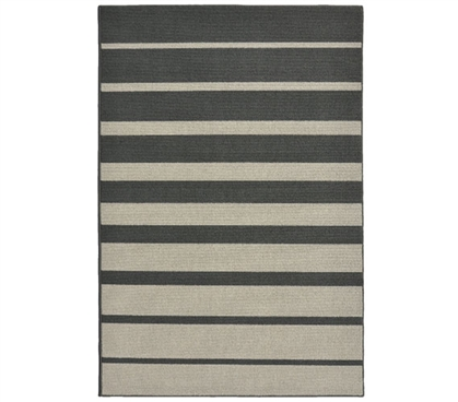 Stair Steps College Rug - Gray and Silver - 5' x 7.5'