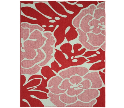 Valencia Dorm Rug - Coral and Ivory - 5' x 7'
