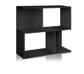 Double Stack Bookshelf Black- Way Basics Dorm - Useful Dorm Storage Space