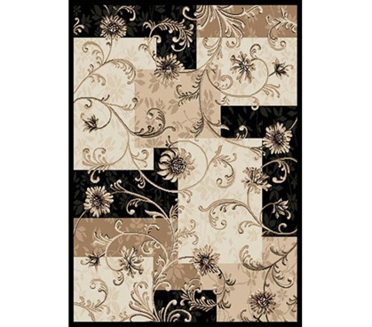 Black & Beige Floral Rug College dorm decorations