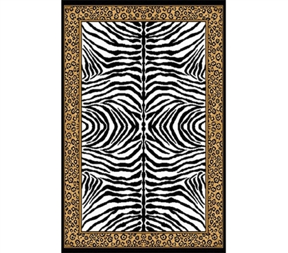 Zebra Cheetah College Dorm Room Rug College Decor