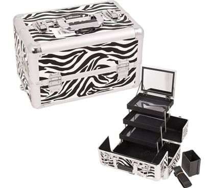 College Girl Cosmetic Case - Zebra White Pro - Great For Makeup Storage