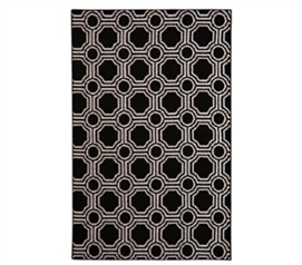 Add College Rugs - Mosaic Circle College Rug - Black and White - College Decor Is Essential