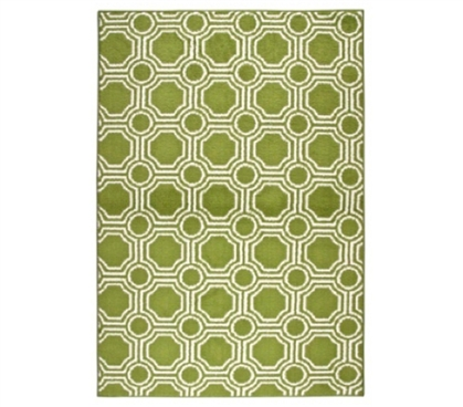 Mosaic Circle College Rug - Grasshopper Green and White - Decorate With Rugs