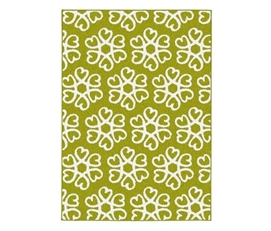 Hearts Blossom Dorm Room Rug - Lime Green and White College Supplies